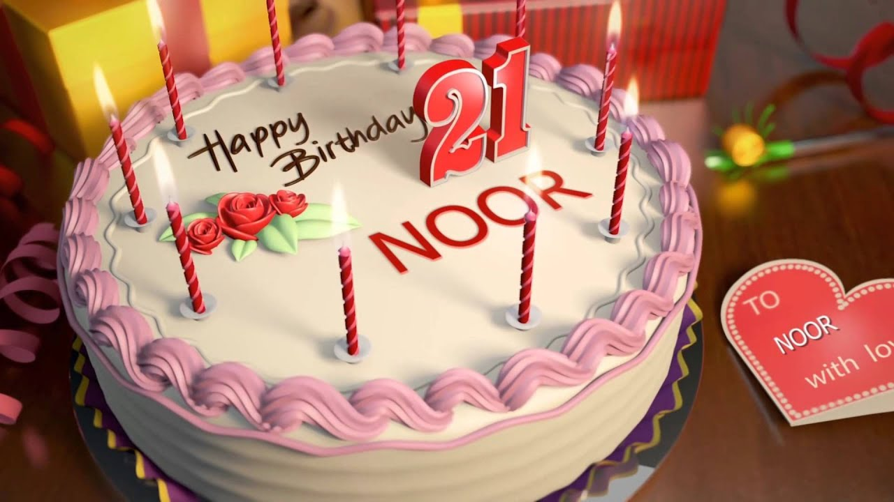 Birthday Cakes With Name Mahi ~ Happy birthday noor youtube