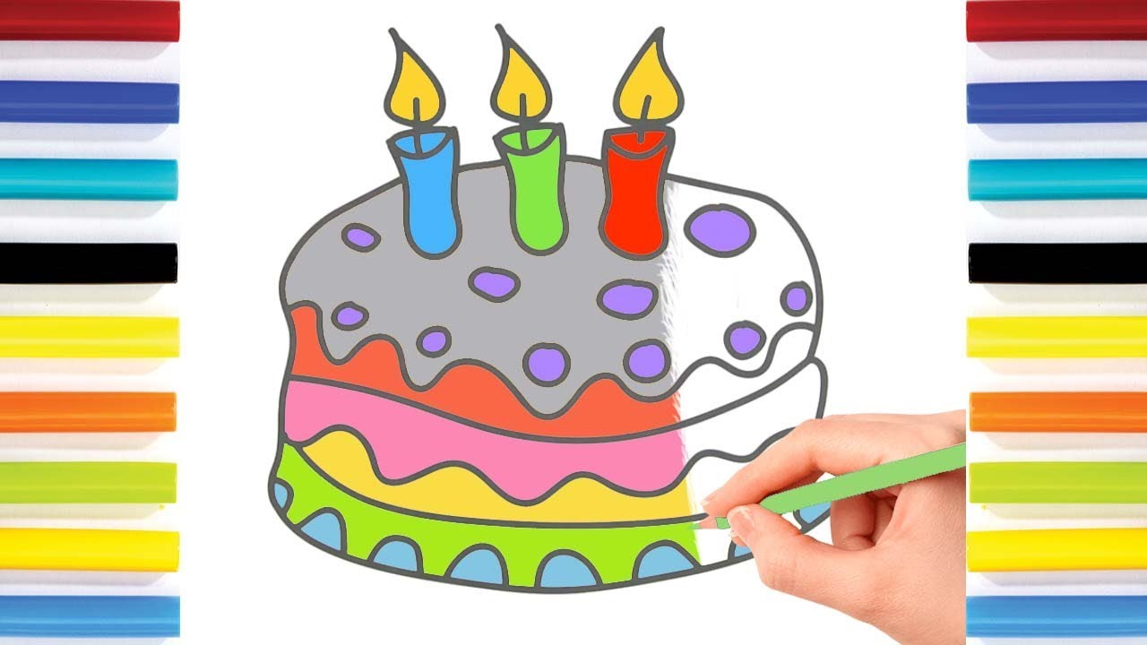 kid u0027s birthday cake coloring pages and drawings with colorful