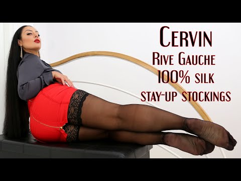Cervin Rive Gauche 20Dn real silk stay-up stockings in black color (Review)