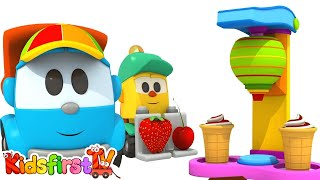 Animation for kids. Leo the truck: ice cream machine. Car cartoon for kids and for children.