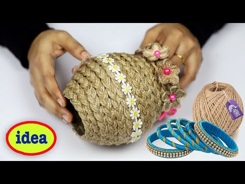 DIY Easy jute rope craft decoration idea with plastic ...