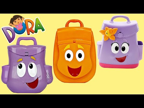 Nick Jr. DORA THE EXPLORER Backpack Explorer Deluxe Set, Boots, Map, Swiper Song Toy Surprise / TUYC