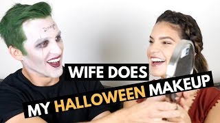 WIFE DOES MY JOKER MAKEUP | Cody & Lexy