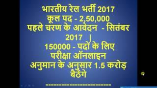 RRB Recruitment 2017   Railway Job 2017   Upcoming railway Vacancies more than 250000 2017 Video