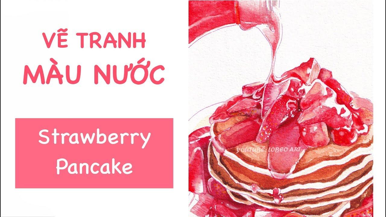 [ Watercolor Tutorial ] Vẽ bánh dâu tây bằng màu nước Superior | Lobeo Art ( Lỗ Béo )
