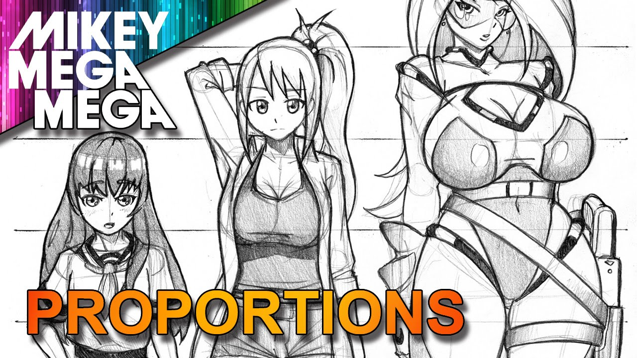 How to draw female full body proportions head ratio for anime manga