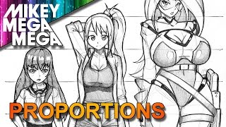 How To Draw FEMALE FULL BODY PROPORTIONS & HEAD RATIO FOR ANIME MANGA