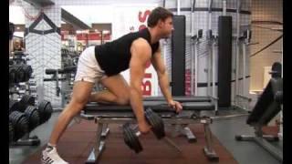 Тренировка широчайших мышц. Тяга гантели к поясу в наклоне. Обучающие видео.(Упражнение тяга гантели к поясу в наклоне для тренировки широчайших мышц спины. Техника выполнения к обуча..., 2009-10-20T22:38:58.000Z)