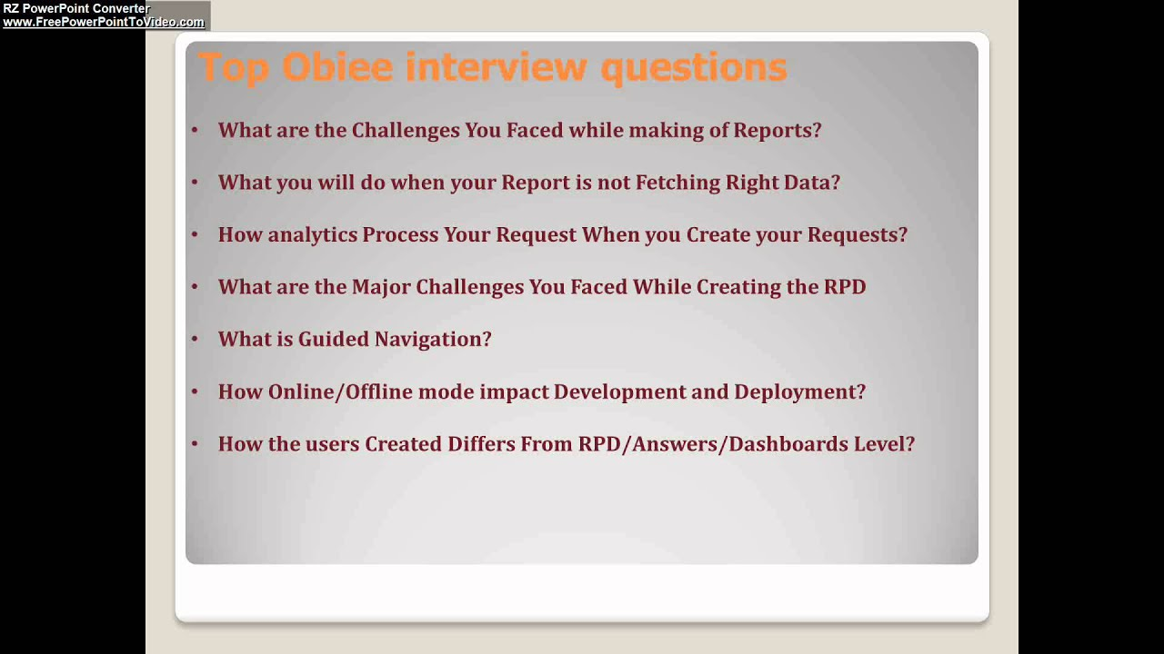top obiee interview questions top obiee interview questions