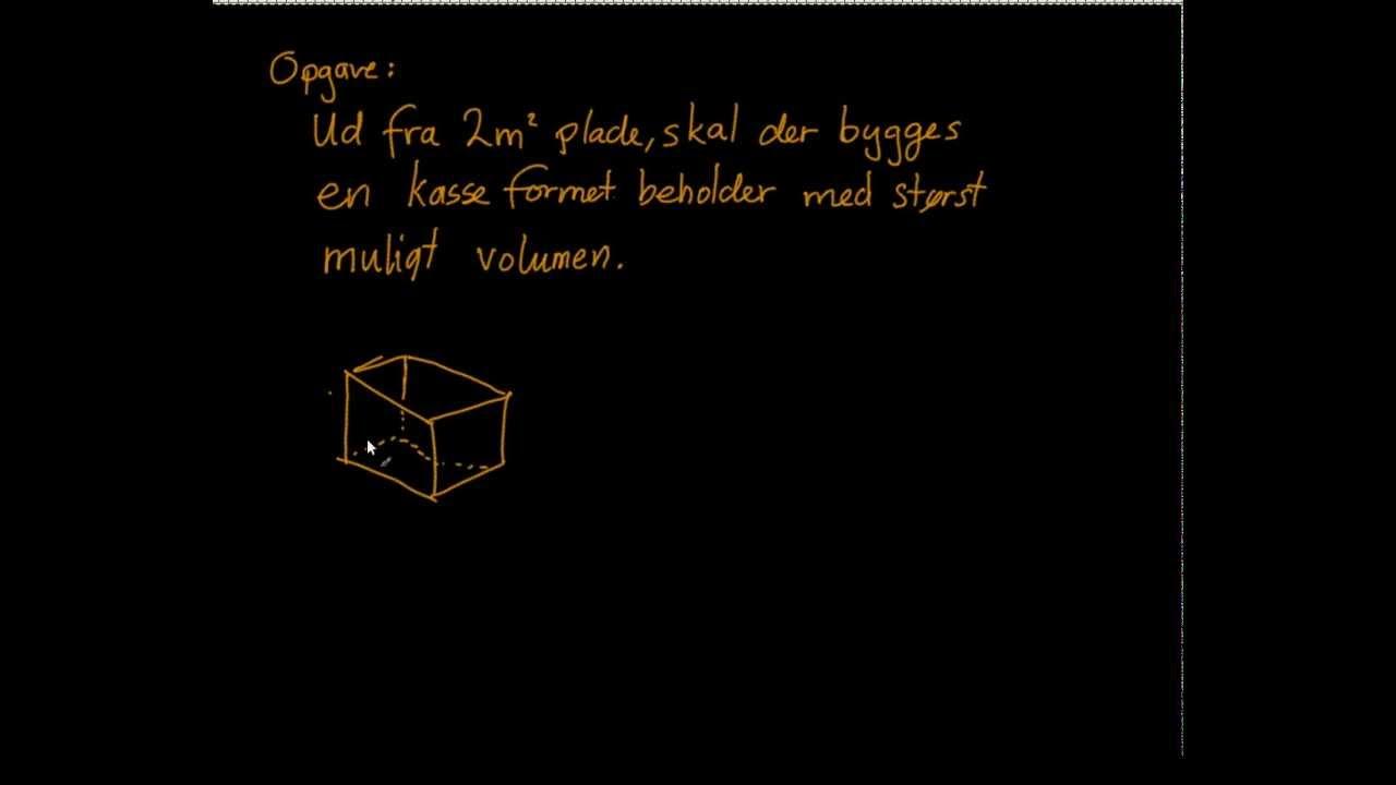 Maksimering af volumen af kasse med en given overflade