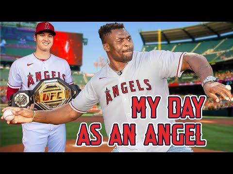 Throwing Strikes at my first baseball game   Francis Ngannou x LA Angels