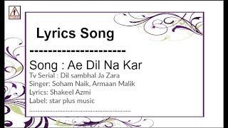Ae Dil Na Kar: Lyrics song   soham naik   Dil Sambhal Ja Zara (Star Plus)