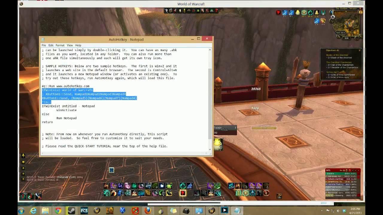 World of Warcraft + autohotkey macros