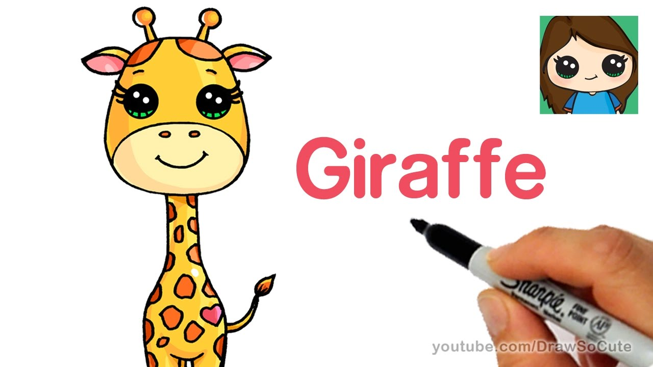 How To Draw A Cartoon Giraffe Easy April Youtube
