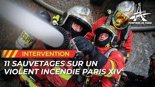 Les pompiers de Paris interviennent pour un violent feu d'immeuble à Paris (XIVe)