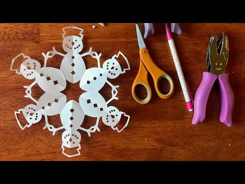How to make a snowman paper snowflake - Step by step - Do it yourself Paper Snowflake Art