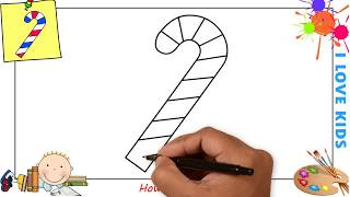 How to draw a christmas candy cane EASY step by step for kids, beginners, children 1