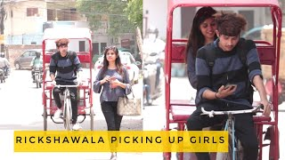 Baba Rickshawala Picking up cute Girls | prank | vishal goswami baba