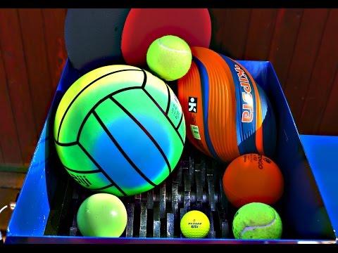 SHREDDING BALLS (PING PONG, GOLF, TENNIS, WATER POLO BALL) AND PING PONG RACKET