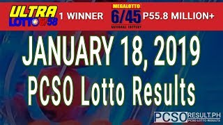 PCSO Lotto Results Today January 18, 2019 (6/58, 6/45, 4D, Swertres, STL & EZ2)