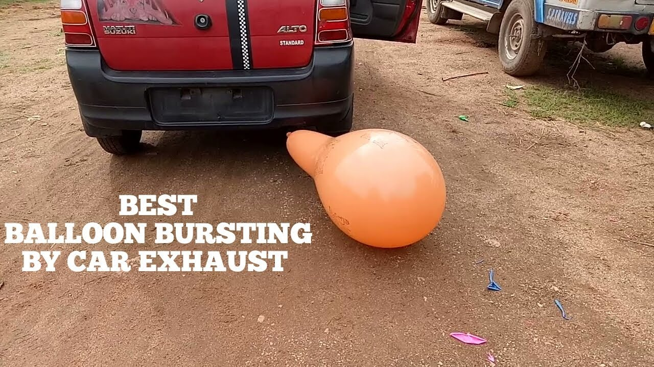 Balloons popping sound effect video on youtube for children s kids by car exhaust through silencer