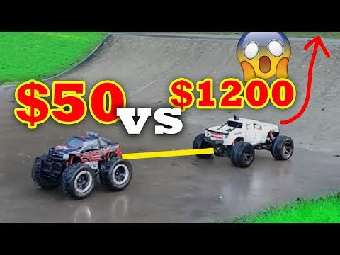 $1000 RC Car Crushing $100 RC Car - Traxxas X-Maxx VS Toy Shop Special! Tire comes off