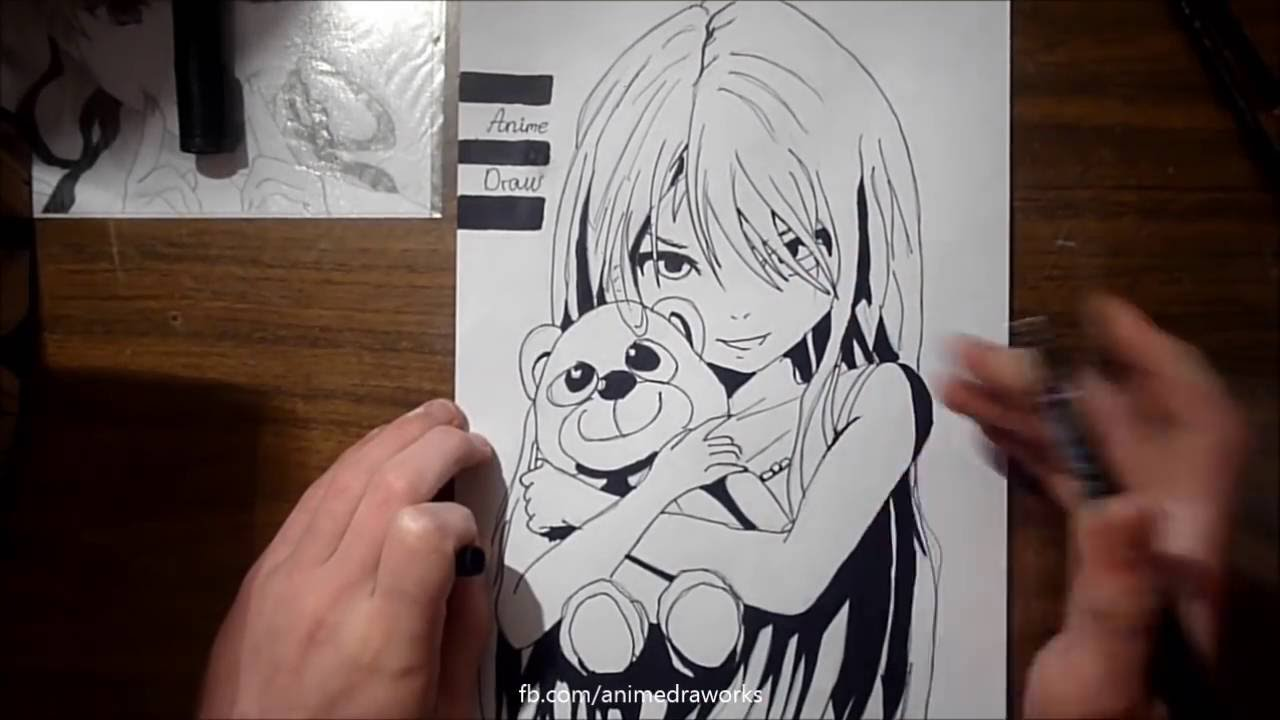 How to draw lovely anime girl only pencil and marker youtube