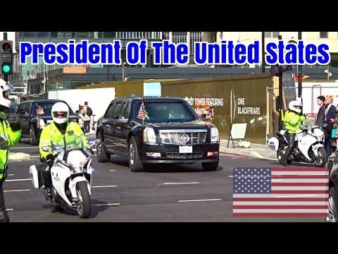 President Obama motorcade in London - Secret Service & Police escort