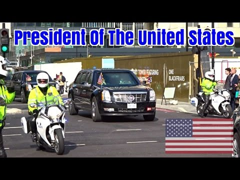 President Obama motorcade in London - Secret Service & Police escort - YouTube