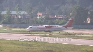 Air India propellor plane takes off from Kullu Manali Bhuntar Airport, Himachal Pradesh