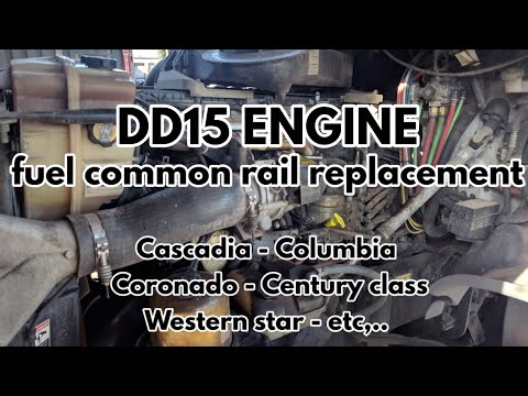 Freightliner Cascadia DD13 DD15 Engine Fuel Common Rail Remove Replacement