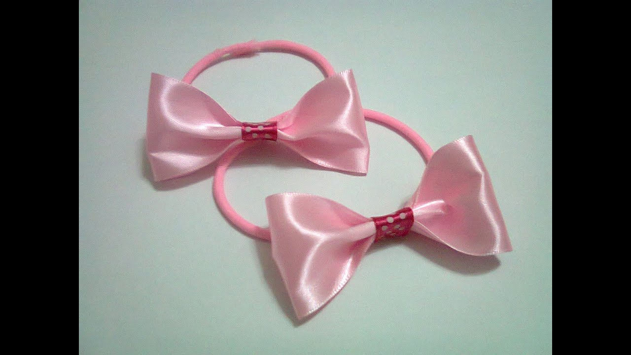 Diy 12 Rubber Band Hair Bow Using Ribbon Youtube