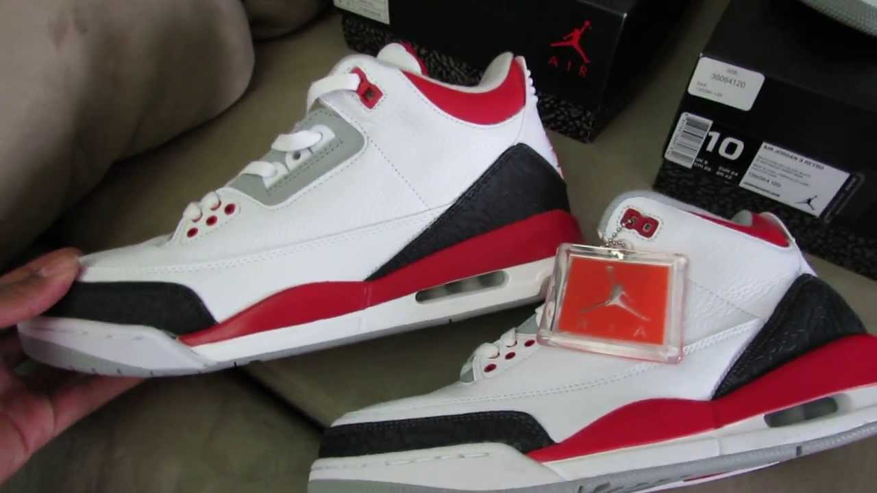 buy popular 6d8e4 acf53 JORDAN 3 FIRE RED (REAL VS FAKE) - YouTube