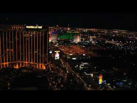 Mandalay Bay Hotel Casino Resort Las Vegas Aerial View at Night from Helicopter Tour Video Footage