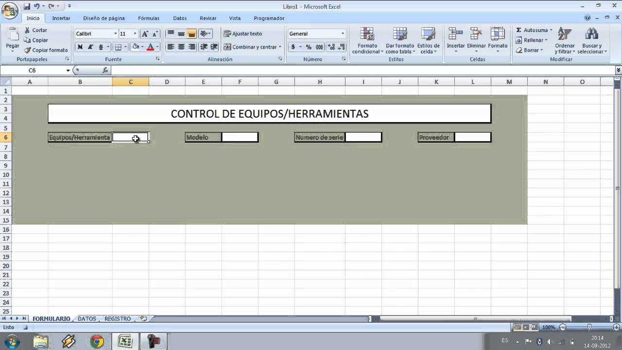 Planilla control de equipos Parte 1 - YouTube