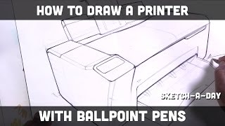 How to draw a printer with ballpoint pens