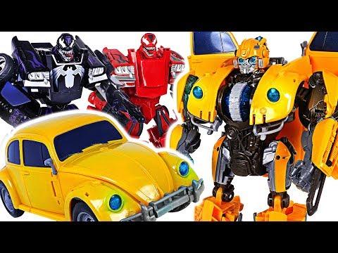 Transformers Movie Power Charge Bumblebee VS Marvel Transformers Venom, Carnage! #DuDuPopTOY