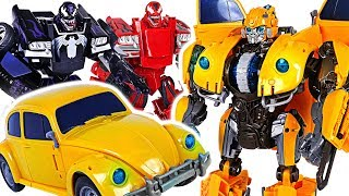 Transformers Movie Power Charge Bumblebee VS Marvel Transformers Venom, Carnage! #DuDuPopT ...