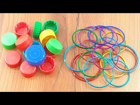 Amazing creative idea Out of old bangles & waste plastic bottle caps