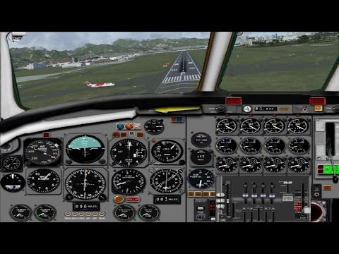 FSX - DC-8-50 - JT3D-3B engine sounds - fd views - landing