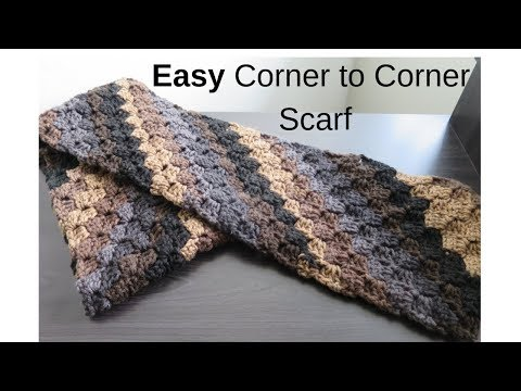 How To Crochet a Corner To Corner Scarf for Beginners - YouTube