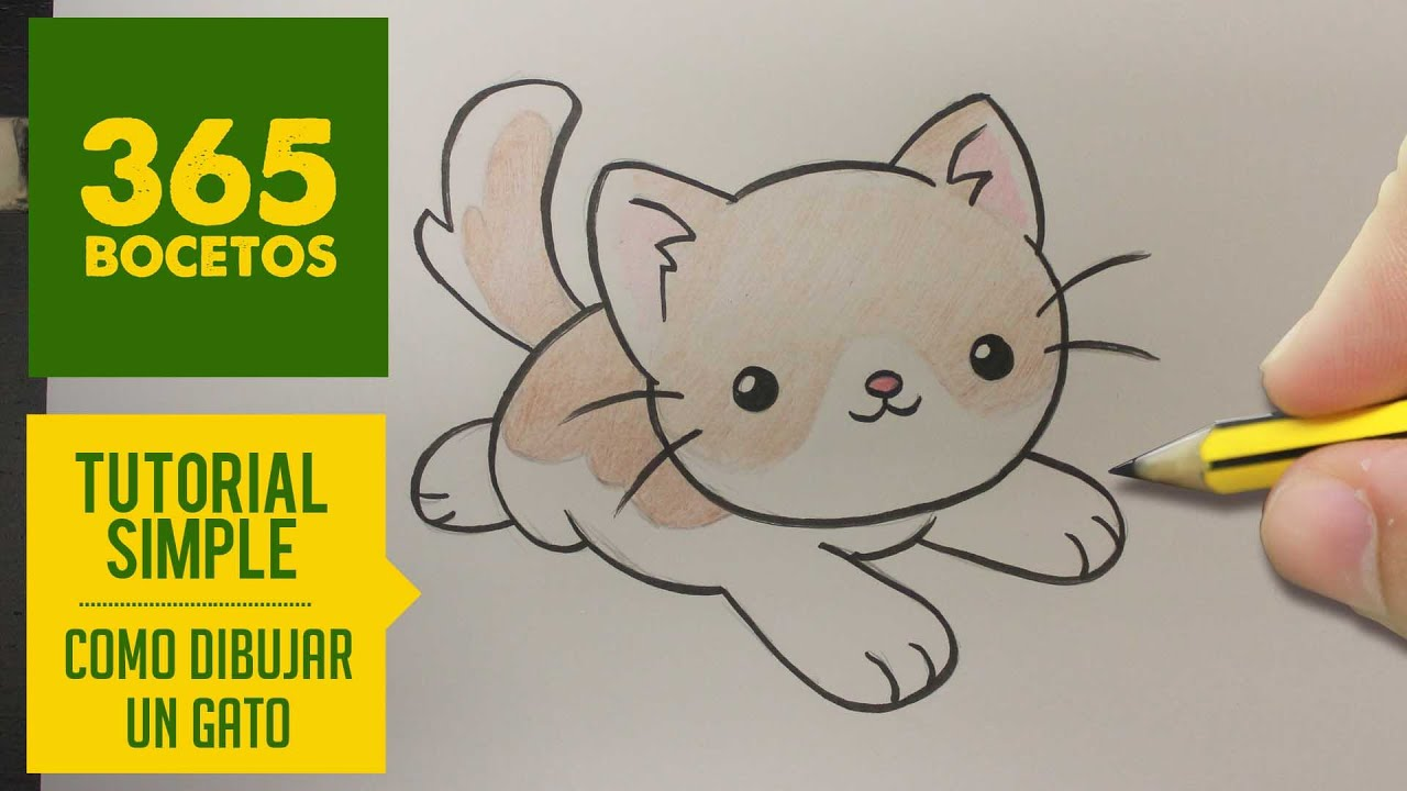 COMO DIBUJAR UN GATO KAWAII PASO A PASO , Dibujos kawaii faciles , How to  draw a cat , YouTube