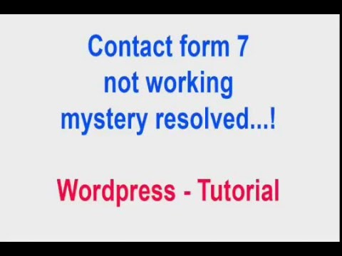 Contact Form Not Working Wordpress Tutorial  Youtube