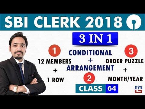 SBI Clerk Prelims  | 3 in 1 | 12 Members 1 Row | Conditional Arrangement | Order Puzzle | Class 64