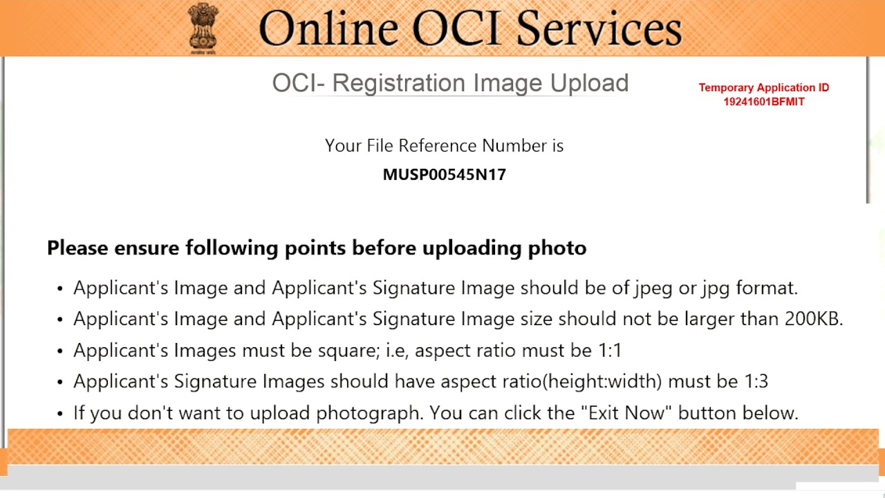 card sample, sample for minor part signature, form minor signature, on oci application form minor signature