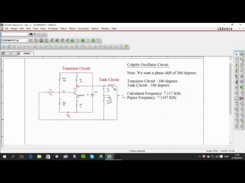 Colpitts Oscillator Circuit using pspice