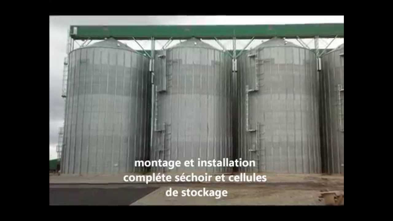 Cellule A Grain Exterieur Chantier Silos Agricole Montage Installation Cellule Stockage Séchoir