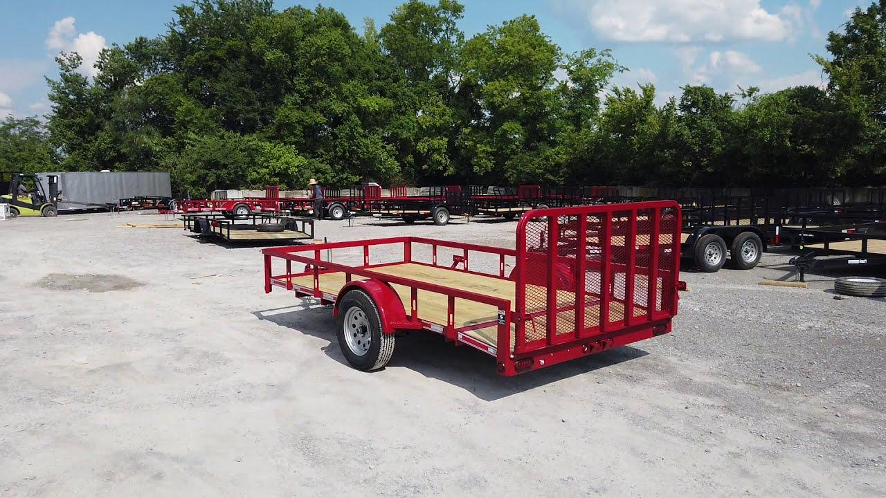Utility Trailer 6 5' X 12' Red 3500lb Dovetail Mesh Gate