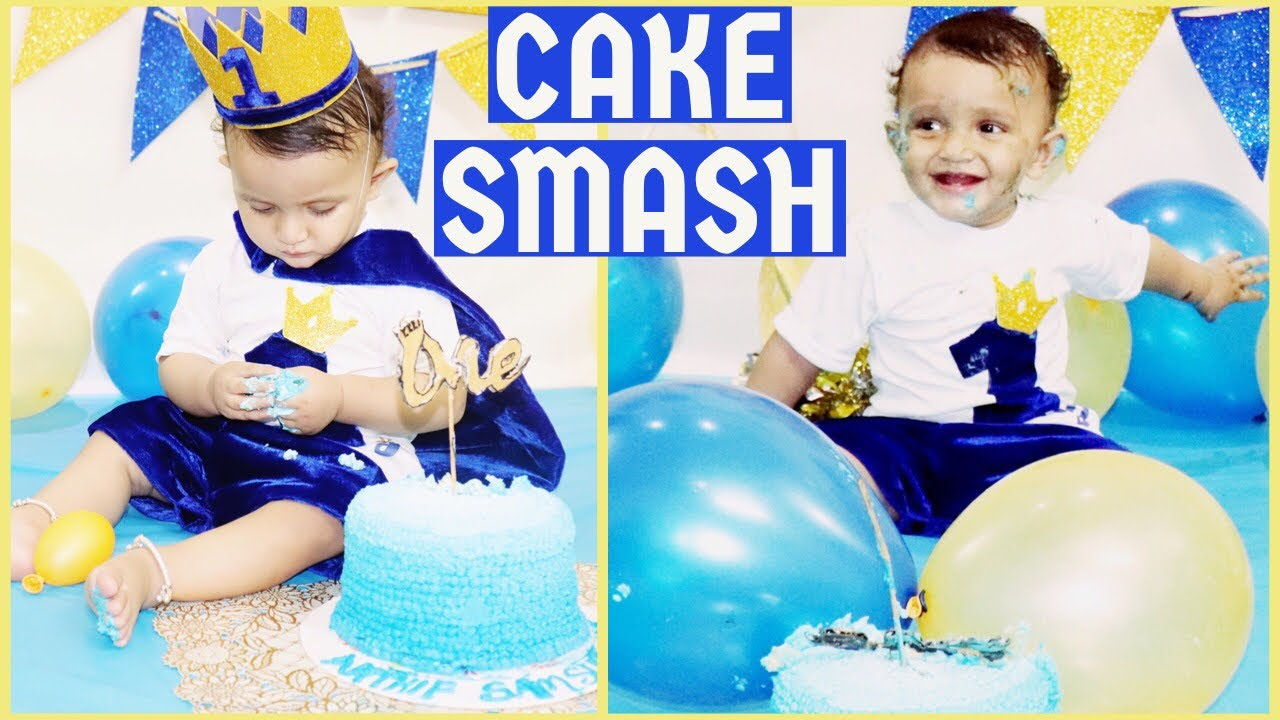 Royal Prince 1st Birthday Cake Smash At Home And Ideas Diy Birthday Crown And Outfit Youtube