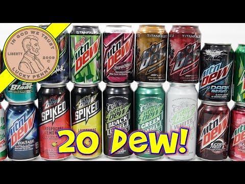 Mtn Dew Taste Test - 20 FLAVORS! Do the Mountain Dew Rainbow! Hmm DEW-BOW